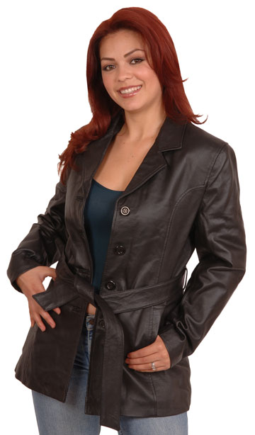 A3 Ladies Leather Princess Curved Panel Jacket with Buttons and Belt