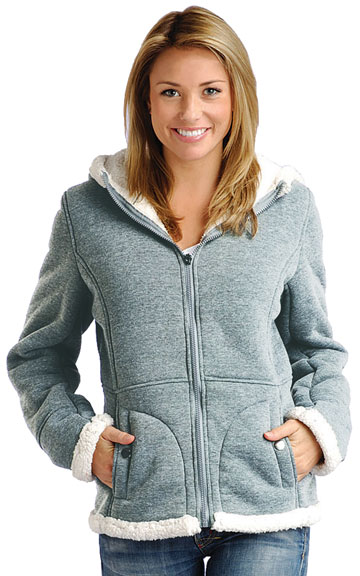 F1269 Ladies Gray Poly Fleece Hood Jacket with Baby Sherpa Fur