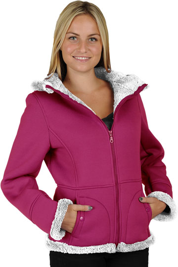 F1269 Ladies Pink Poly Fleece Hood Jacket with Baby Sherpa Fur