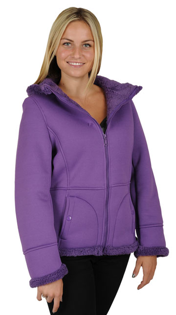 F1269 Ladies Purple Poly Fleece Hood Jacket with Baby Sherpa Fur