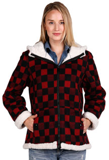 Click here for the F6269 Ladies Red Checker Poly Fleece Hood Jacket with Baby Sherpa Fur