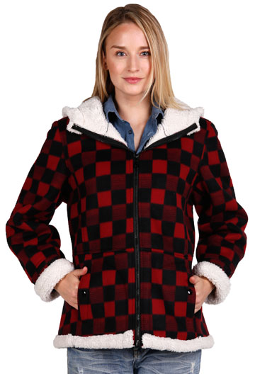 F6269 Ladies Red Checker Poly Fleece Hood Jacket with Baby Sherpa Fur