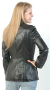 Click here for the 74 Ladies Lambskin Leather 3 Button Blazer Made in the USA Back View