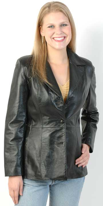 74 Ladies Lambskin Leather 3 Button Blazer Made in the USA Large View