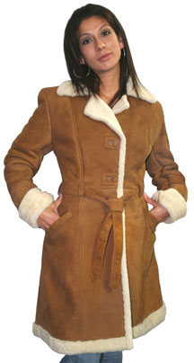 Style 88 Ladies Long Spanish Lamb Shearling Coat