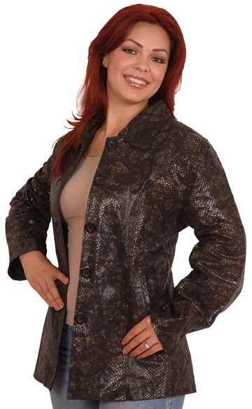 A49 Ladies Leather Blazer with Snake Pattern and Princess Curved Panel Large View