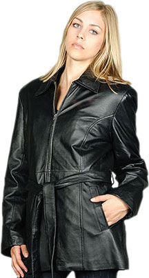 W20P Plus Sizes Ladies Black Leather Belted Jacket with Zipper