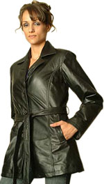 W36P Ladies Black Leather Belted with Buttons Plus Sizes