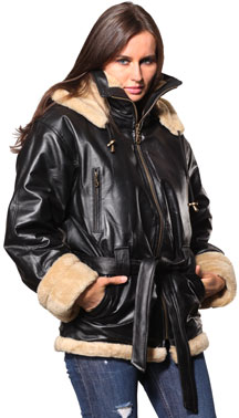 A607 Black Ladies Leather Coat with Beige Fur and Removable Zipper Hood