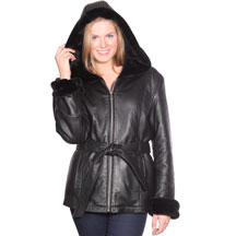 Click for Large View of the B617 Ladies Lambskin 3 Quarter Long Coat with Hood and Faux Fur