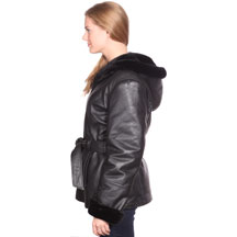 A607 Black Ladies Leather Coat with Black Fur and Removable Zipper Hood