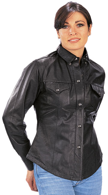 B2680 Ladies Western Style Leather Motorcycle Shirt with Metal Snaps Large View
