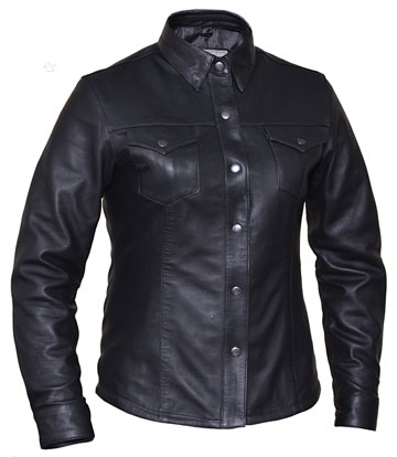 B862 Ladies Western Style Leather Motorcycle Shirt
