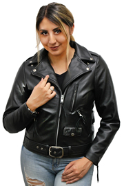 Ladies Davis Classic Biker Leather Jacket