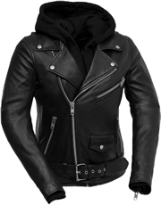 LB185 Women Classic Motorcycle Lambskin Jacket with Full Belt and Removable Hoodie