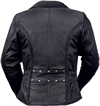 LC103 Ladies Classic Motorcycle Leather Jacket with Crossover Collar and Princess Panel Leather Braid Trim Large Back View
