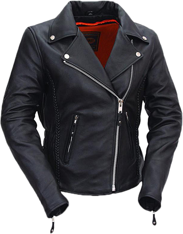 LC103 Ladies Classic Motorcycle Leather Jacket with Crossover Collar and Princess Panel Leather Braid Trim Large View