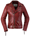 LC1082 Blood Red Cowhide Ladies Vintage Traditional Motorcycle Jacket with Half Belt Front View