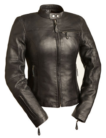 LC155 Ladies Black Leather Kosac Jacket with 3 Pockets