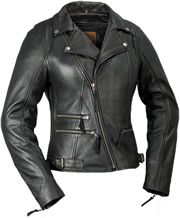 LC160 Ladies Classic Motorcycle Leather Jacket with Crossover Collar