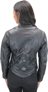 LC6555 Women's Motorcycle Leather Jacket with Removable Purple Hoodie, Purple Accesnts  Back View