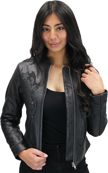 LC180 Women's Motorcycle Leather Short Collar Jacket with Reflective Stars in Front and Back Large View