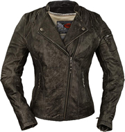 LC193 Ladies Distress Leather Motorcycle Jacket with Crossover Collar and Utility Zipper Pocket on Left Sleeve