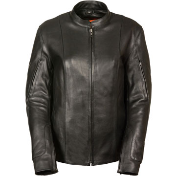 LC2520 Ladies Scooter Leather Jacket with Mandarin Collar and Vents