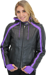 LC6555 Women's Motorcycle Leather Jacket with Removable Purple Hoodie, Purple Accesnts and Tribal Heart on Back