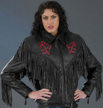 The Rose Ladies Leather Biker Jacket with Fringes and Rose Embelm