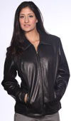 A21051 Ladies Leather Short Zipper Jacket