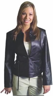 Style A21075 Ladies Waist Leather Jacket