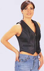 ladies genunie leather vests--Style 690 has  a front zipper and zipper pockets in black cowhide