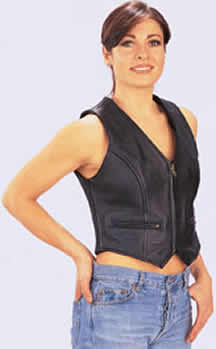 V690 LADIES LEATHER VEST