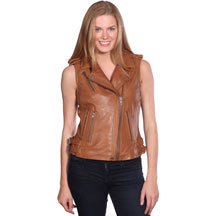 LV1130 Ladies Lambskin Motorcycle Vest with side belts and Zipper click for Large view