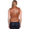 LV1130 Ladies Lambskin Motorcycle Vest with side belts and Zipper click for Back View