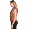 LV1130 Ladies Lambskin Motorcycle Vest with side belts and Zipper click for Side View