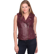 LV1130 Ladies Wine Lambskin Motorcycle Vest with side belts and Zipper