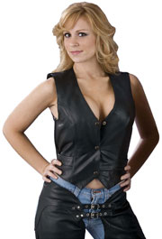 LV1253 Ladies Plain Leather Vest with Snaps