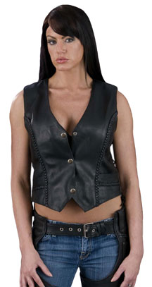 Ladies Braided Naked Heavy Leather Vest
