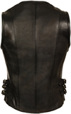 LV1911 Ladies Motorcycle Leather Vest Back View