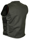 LV200 Ladies Tactical Leather Vest with Elastic and Ajustable Straps Back View