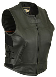 LV200 Ladies Tactical Leather Vest with Elastic and Ajustable Straps