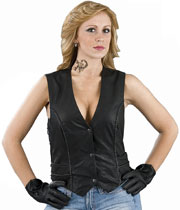LV2045 Ladies Leather Vest with Braid