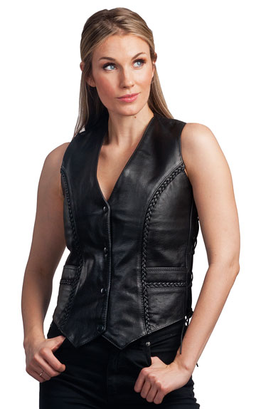 LV7482 Ladies Braid Leather Vest with Adjustable Side Laces