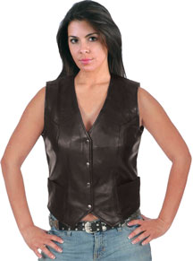 LV2676 Laides Long Plain Leather Vest