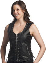 Ladies Leather Vest with Metal Eyeleds and Zipper