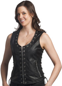 The Ladies Leather Zipper Vest with Eyelets and Laces