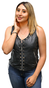 LV2682 Ladies Leather Vest with Metal Eyelets and Ajustable Side Laces Front View