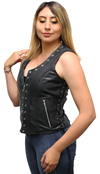LV2682 Ladies Leather Vest with Metal Eyelets and Ajustable Side Laces Side View 2